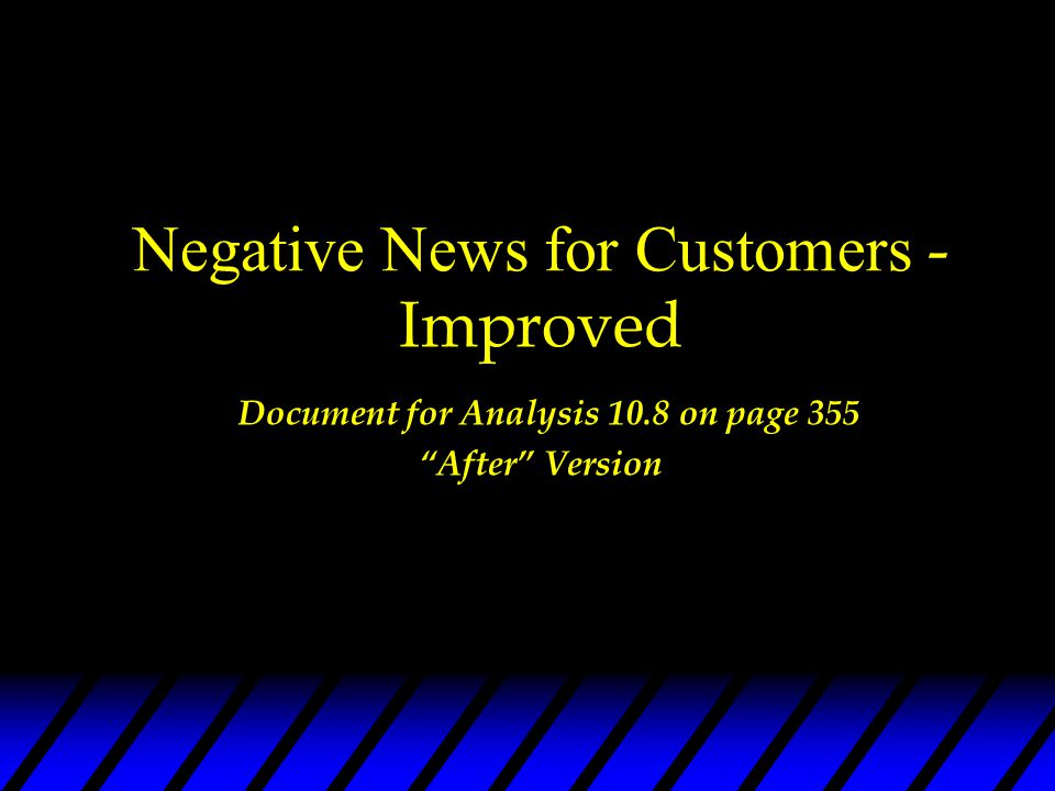 Negative News for Customers - Improved Document for Analysis 10