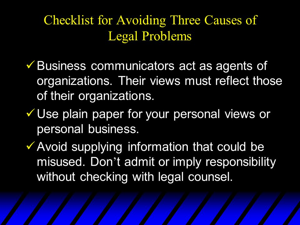 Checklist for Avoiding Three Causes of Legal Problems
