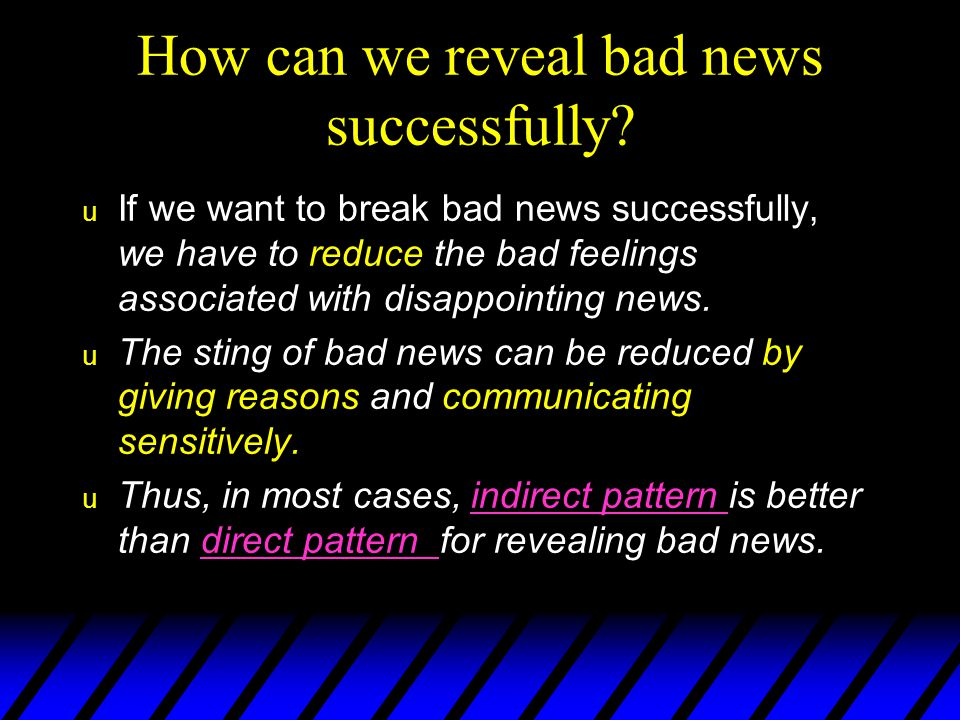 How can we reveal bad news successfully