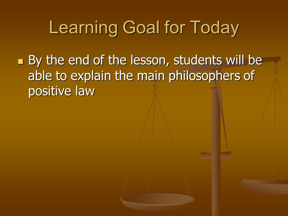 Learning Goal for Today