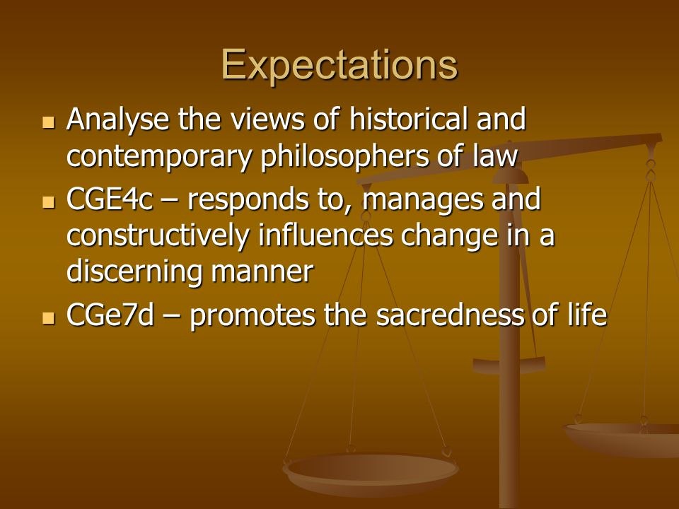 Expectations Analyse the views of historical and contemporary philosophers of law.