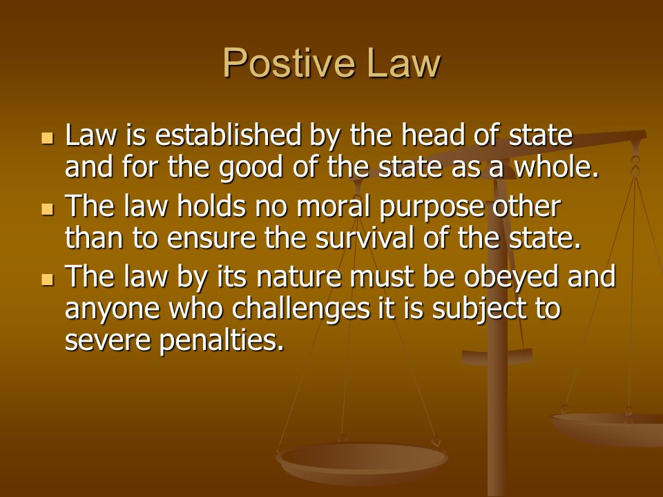 Postive Law Law is established by the head of state and for the good of the state as a whole.