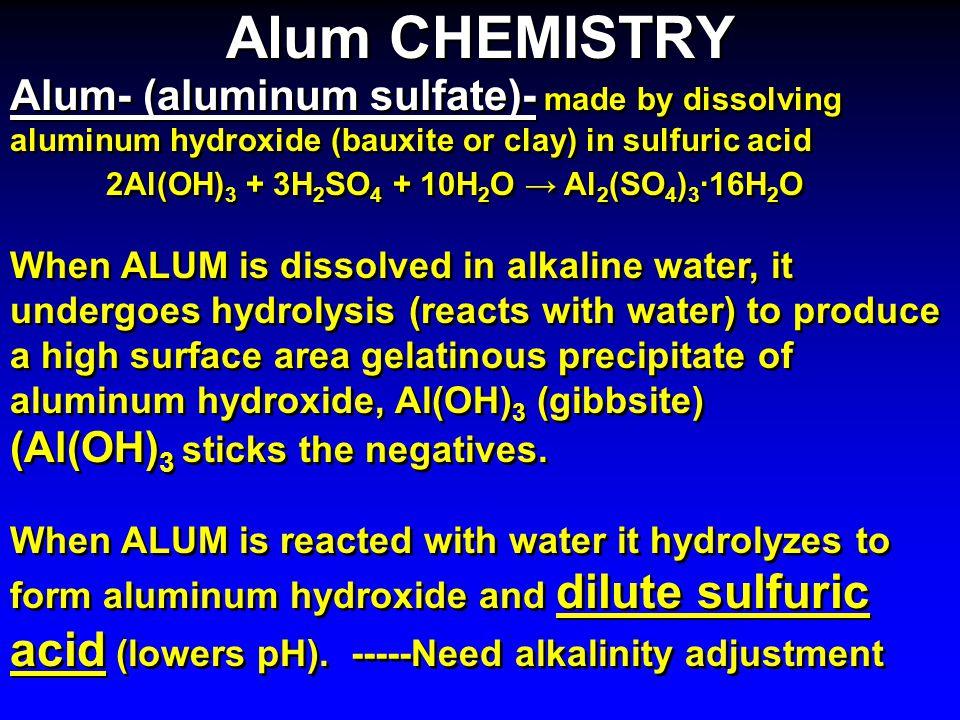 Alum CHEMISTRY Alum- (aluminum sulfate)- made by dissolving aluminum hydroxide (bauxite or clay) in sulfuric acid.