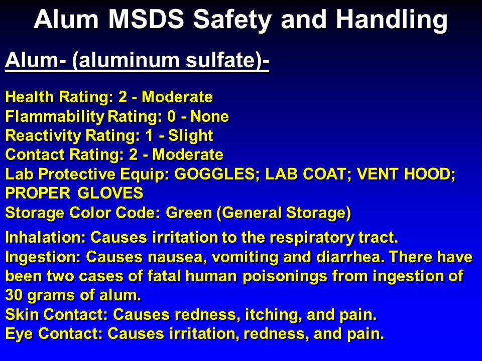 Alum MSDS Safety and Handling