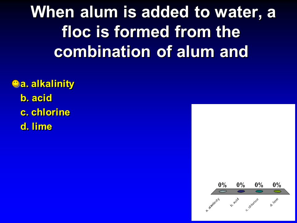When alum is added to water, a floc is formed from the combination of alum and