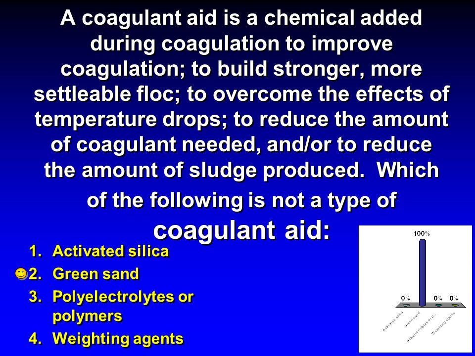 A coagulant aid is a chemical added during coagulation to improve coagulation; to build stronger, more settleable floc; to overcome the effects of temperature drops; to reduce the amount of coagulant needed, and/or to reduce the amount of sludge produced. Which of the following is not a type of coagulant aid: