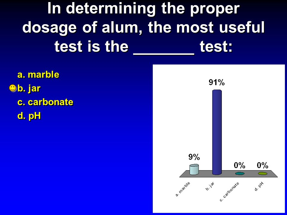 In determining the proper dosage of alum, the most useful test is the _______ test: