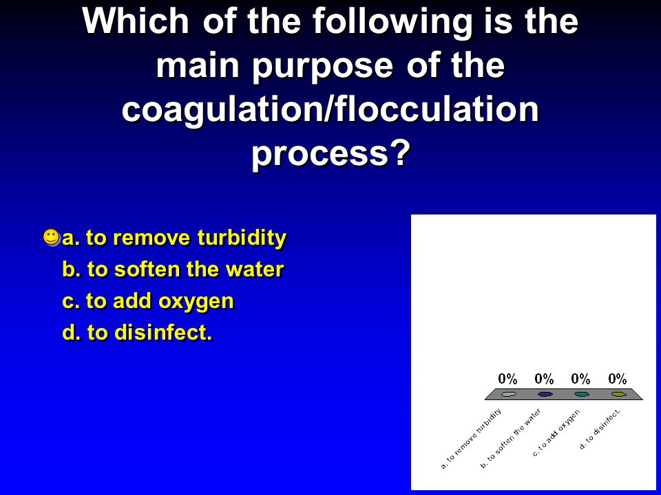 Which of the following is the main purpose of the coagulation/flocculation process