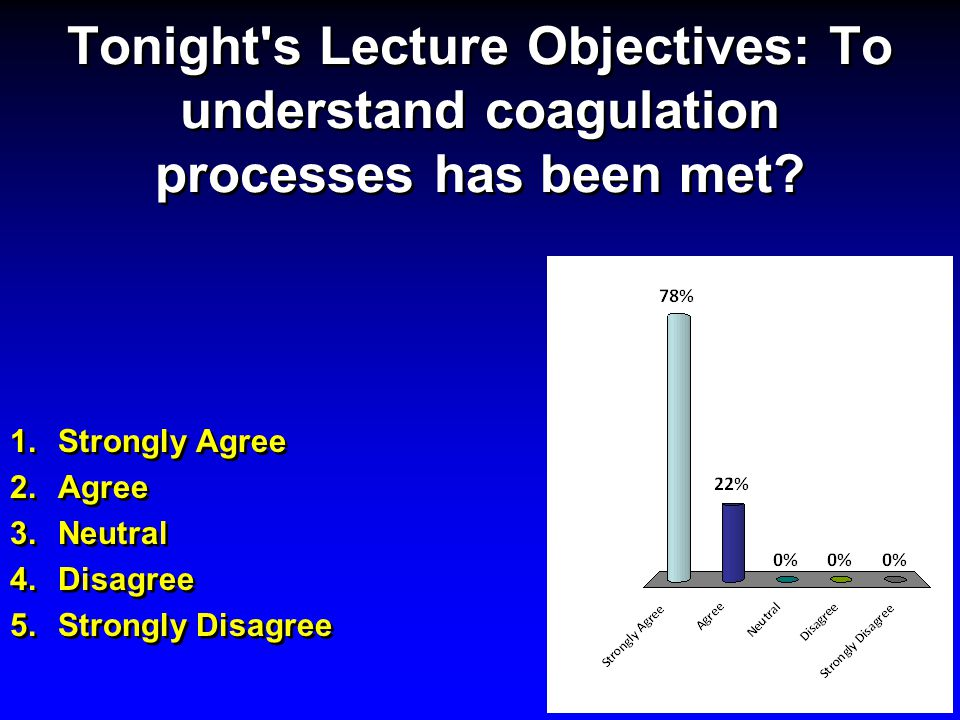 Tonight s Lecture Objectives: To understand coagulation processes has been met