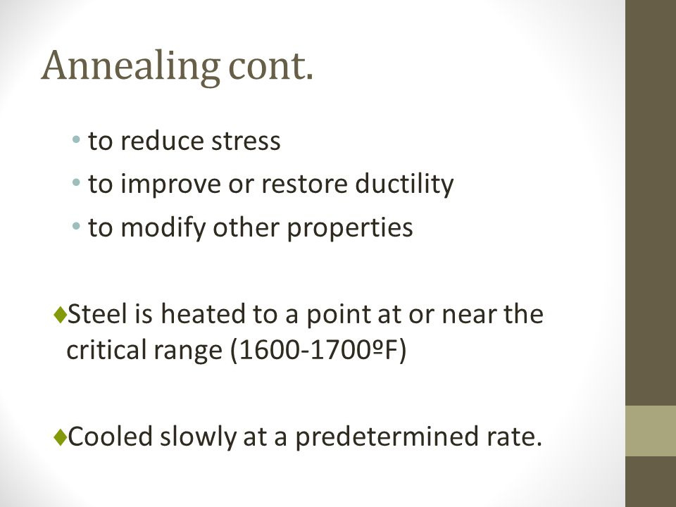 Annealing cont. to reduce stress to improve or restore ductility