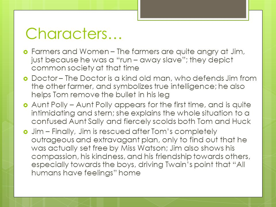 Characters… Farmers and Women – The farmers are quite angry at Jim, just because he was a run – away slave ; they depict common society at that time.