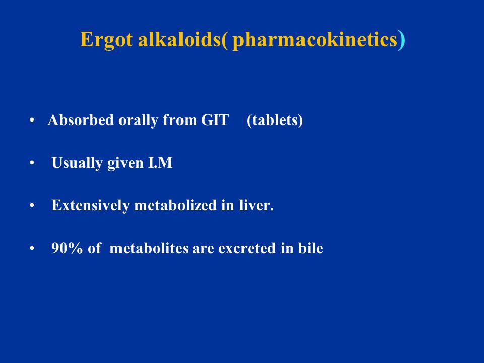 Ergot alkaloids( pharmacokinetics)