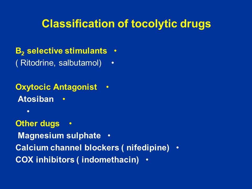 Classification of tocolytic drugs