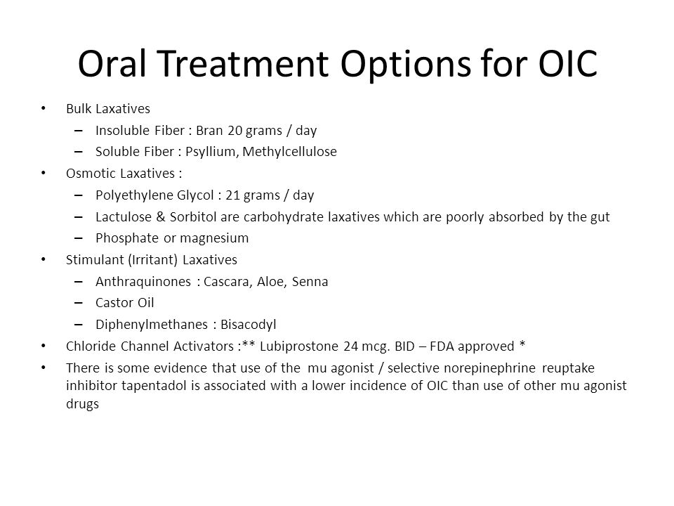 Oral Treatment Options for OIC