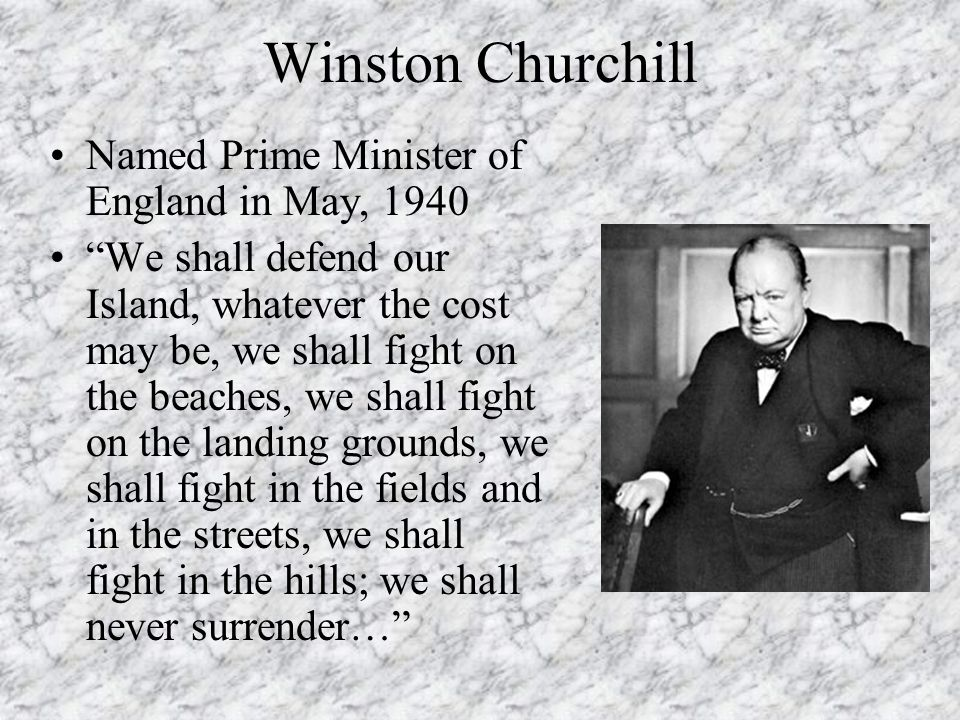 Winston Churchill Named Prime Minister of England in May, 1940
