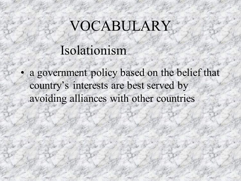 VOCABULARY Isolationism