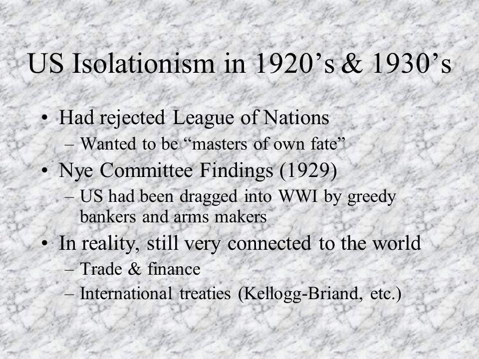 US Isolationism in 1920's & 1930's