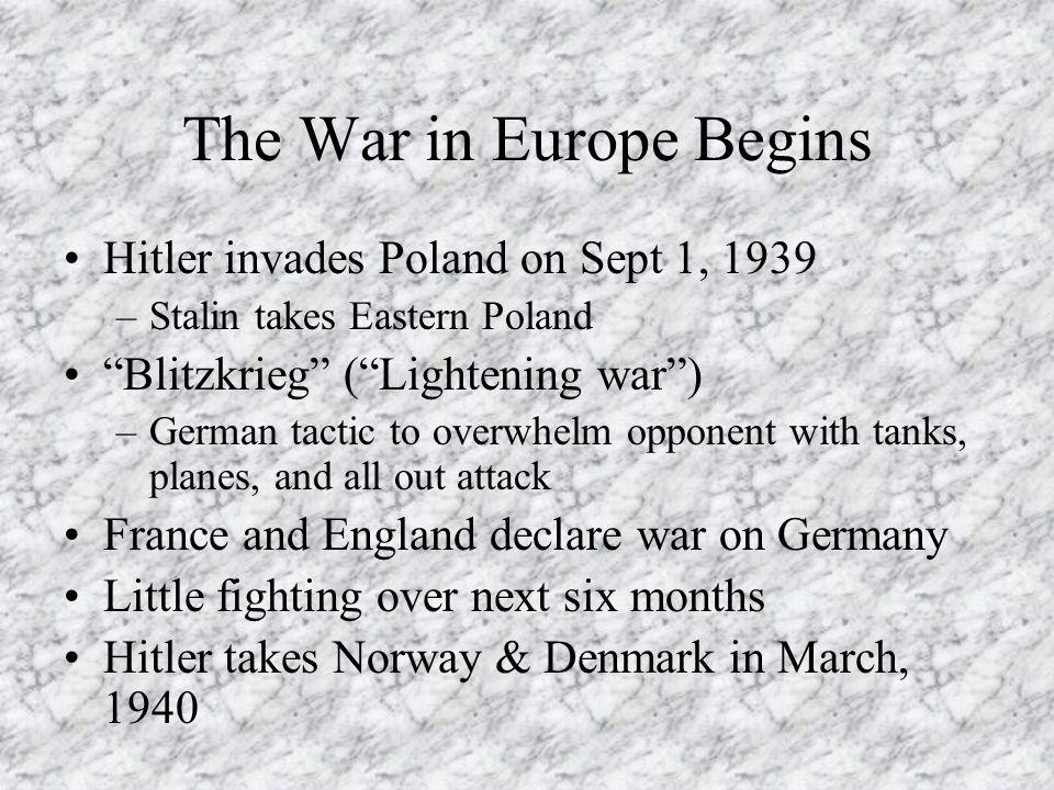 The War in Europe Begins