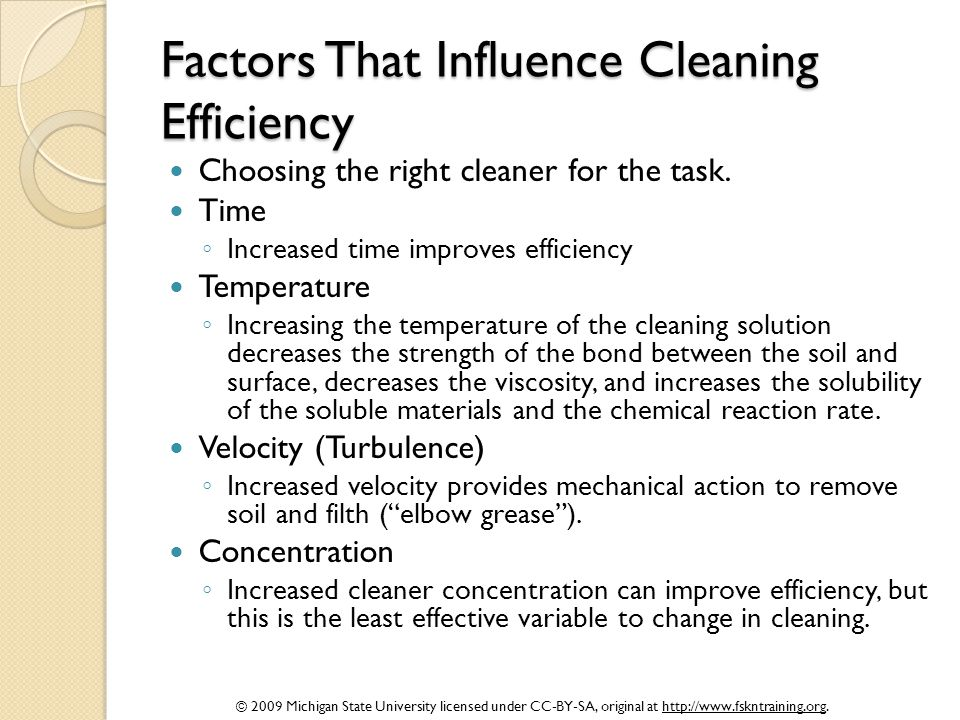 Factors That Influence Cleaning Efficiency