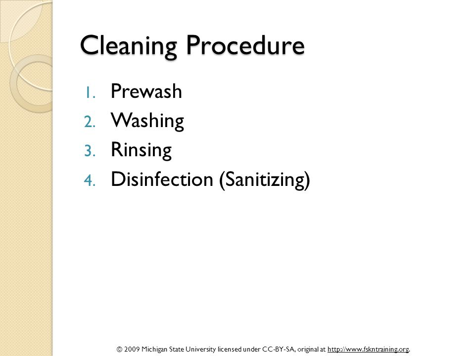 Cleaning Procedure Prewash Washing Rinsing Disinfection (Sanitizing)