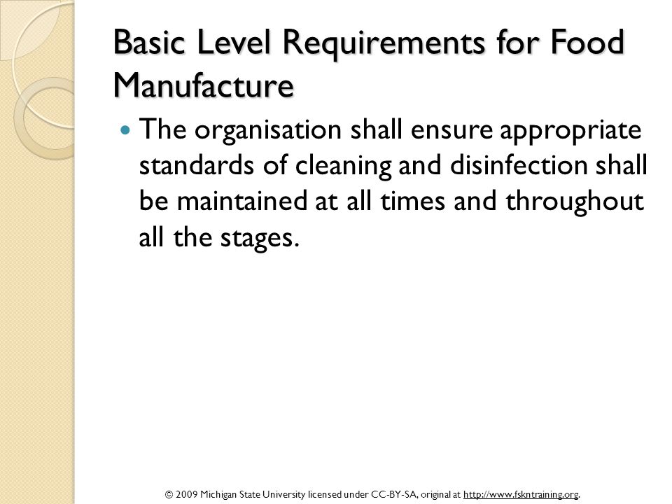 Basic Level Requirements for Food Manufacture