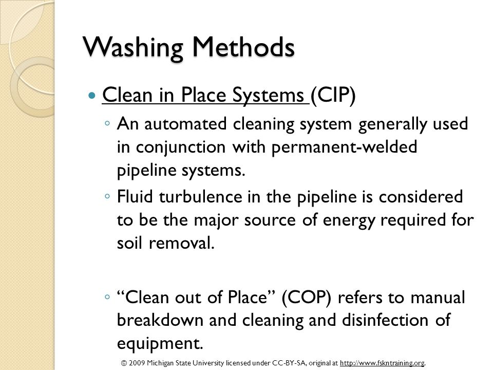 Washing Methods Clean in Place Systems (CIP)