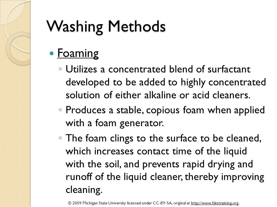 Washing Methods Foaming