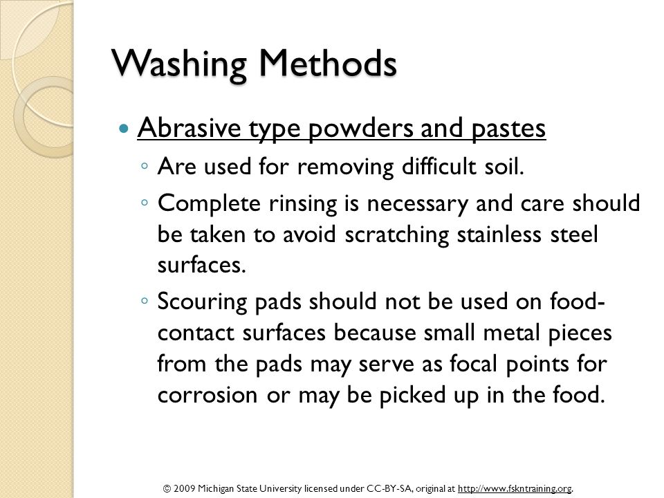 Washing Methods Abrasive type powders and pastes