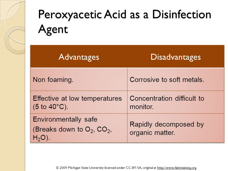 Peroxyacetic Acid as a Disinfection Agent
