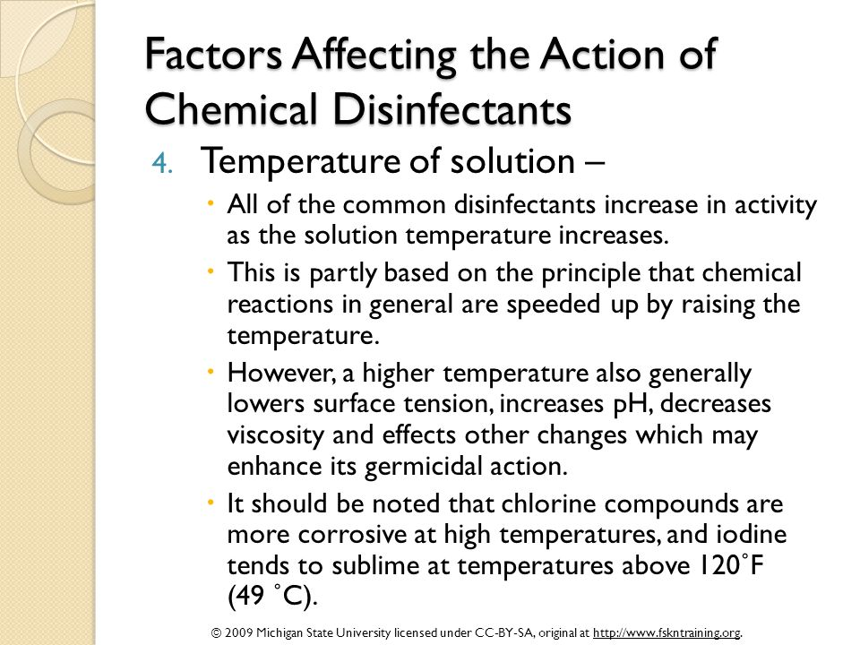 Factors Affecting the Action of Chemical Disinfectants