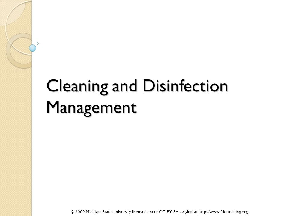 Cleaning and Disinfection Management