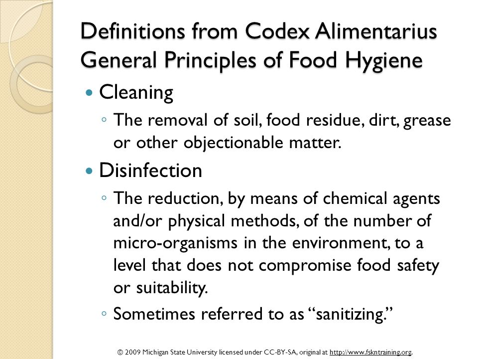 Definitions from Codex Alimentarius General Principles of Food Hygiene