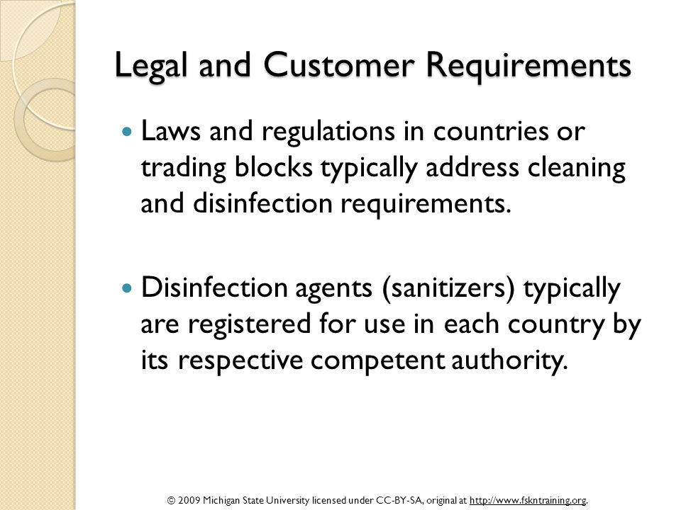 Legal and Customer Requirements
