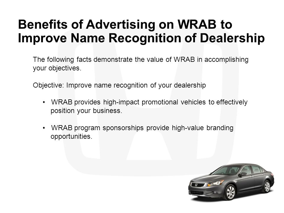 Benefits of Advertising on WRAB to Improve Name Recognition of Dealership