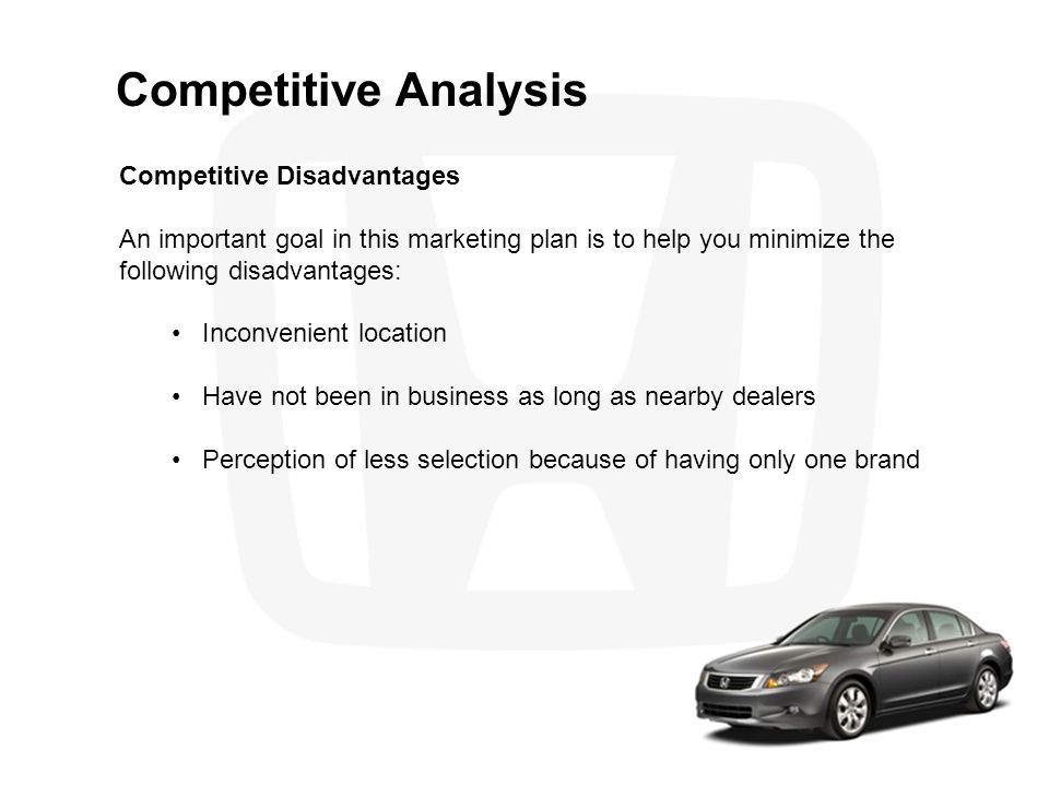 Competitive Analysis Competitive Disadvantages