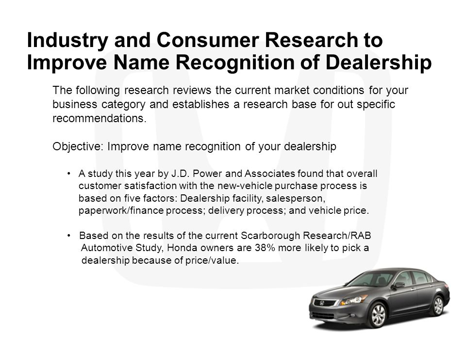 Industry and Consumer Research to Improve Name Recognition of Dealership