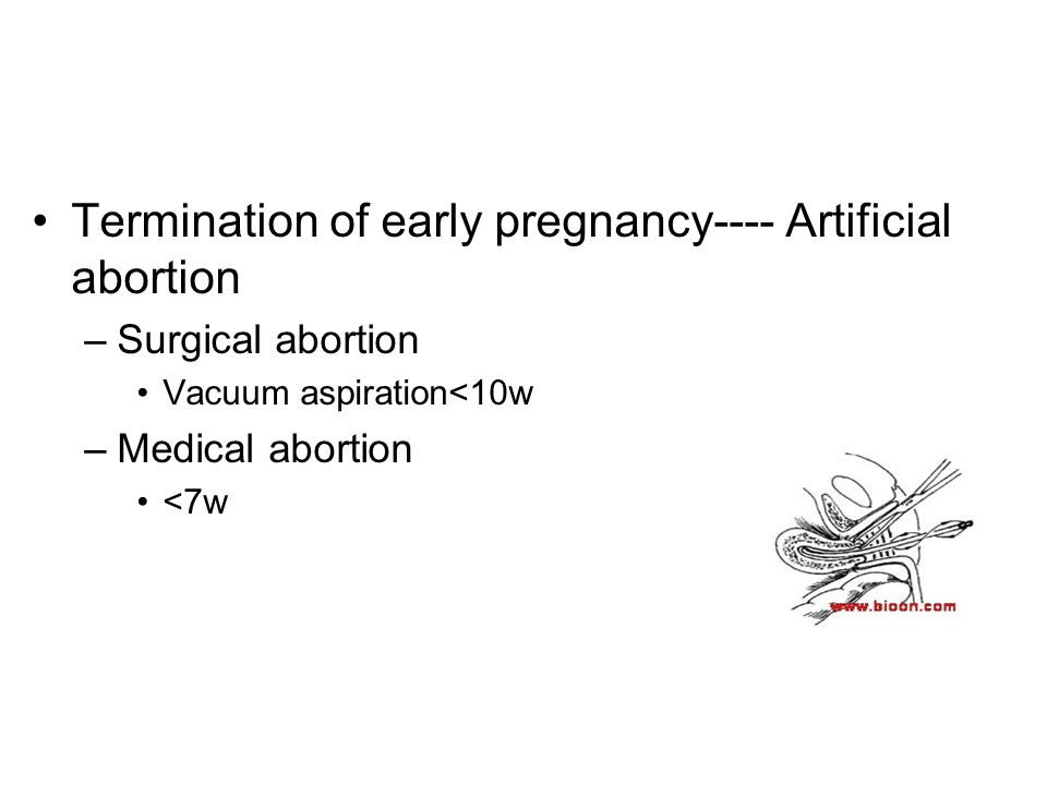 Termination of early pregnancy---- Artificial abortion