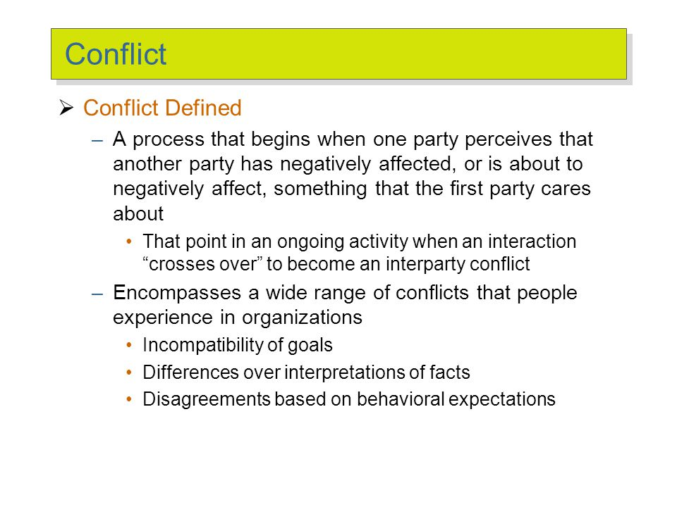 Transitions in Conflict Thought