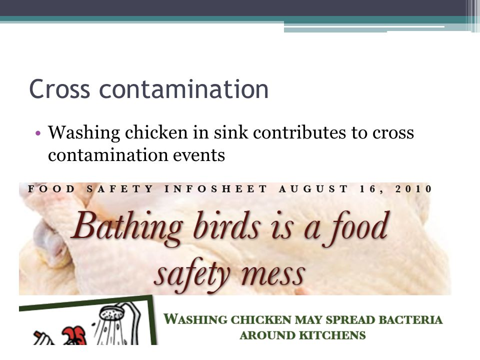 Cross contamination Washing chicken in sink contributes to cross contamination events