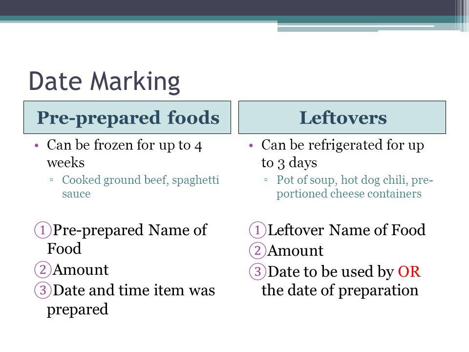 Date Marking Pre-prepared foods Leftovers Pre-prepared Name of Food