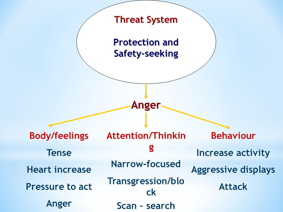 Anger Threat System Protection and Safety-seeking Body/feelings Tense