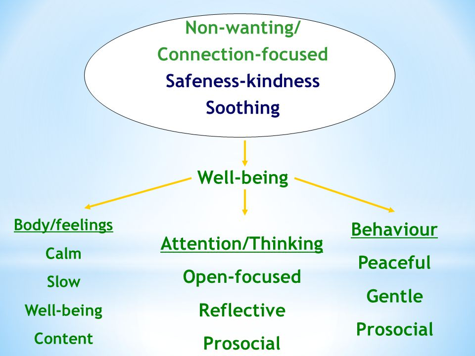 Non-wanting/ Connection-focused Safeness-kindness Soothing Well-being