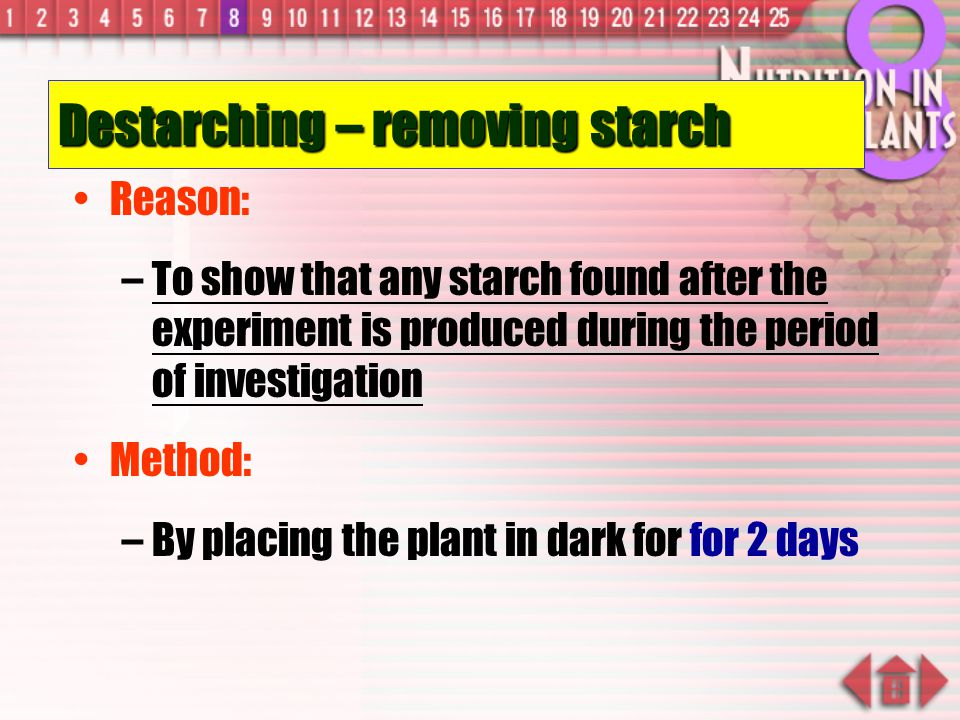Destarching – removing starch