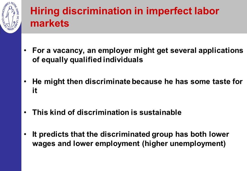 Hiring discrimination in imperfect labor markets