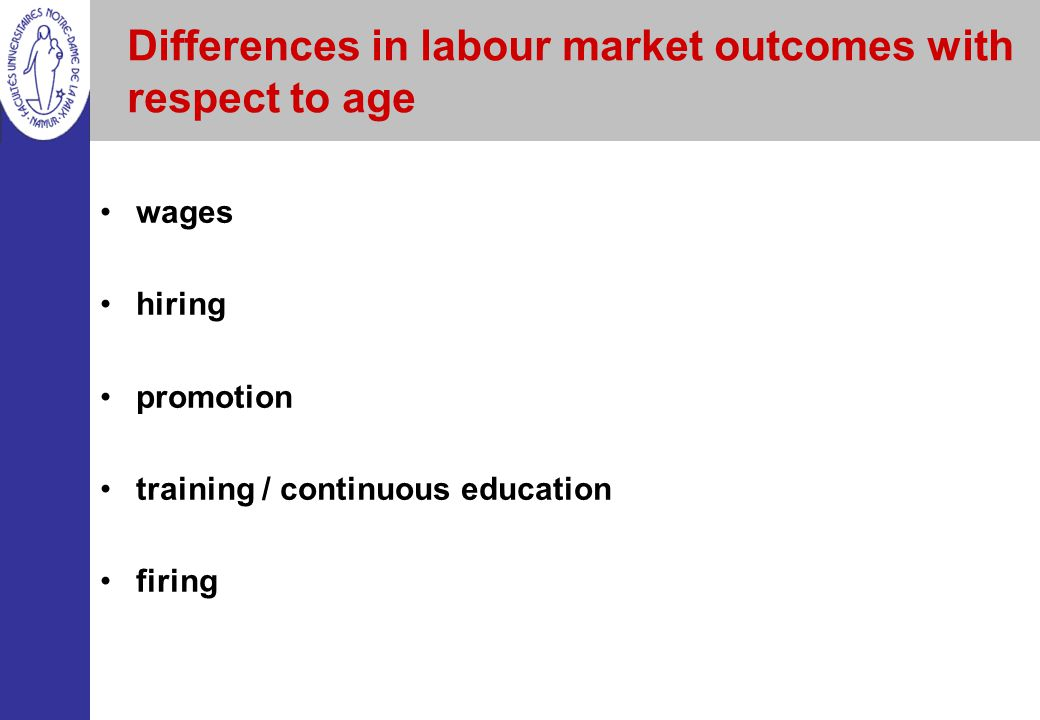 Differences in labour market outcomes with respect to age