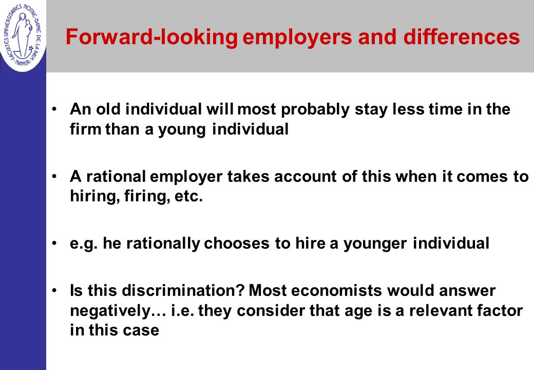 Forward-looking employers and differences