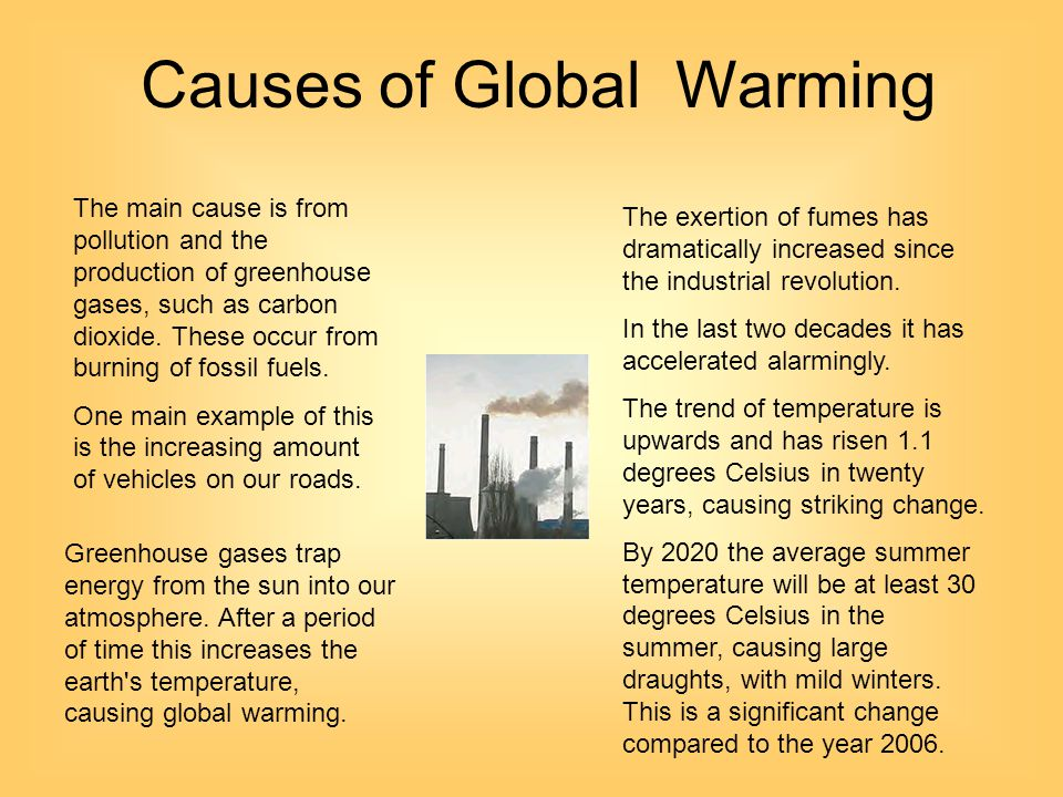the main cause of global warming Information about the threats to the global environment from global warming and the main menu our work clean how do we know that humans are the major cause.