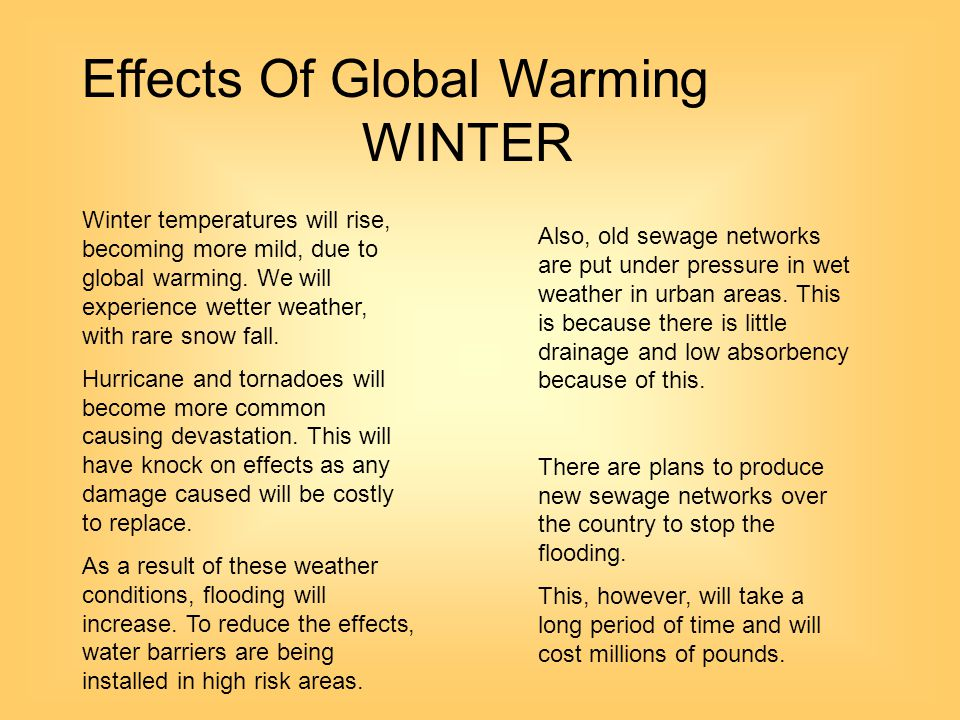 Effects Of Global Warming WINTER