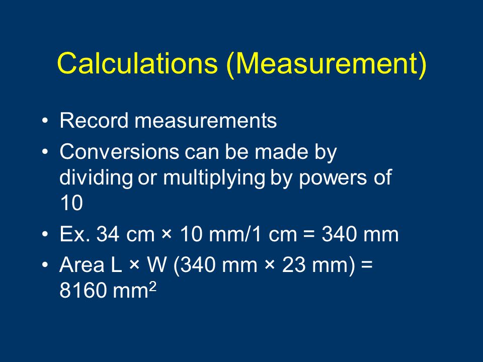 Calculations (Measurement)
