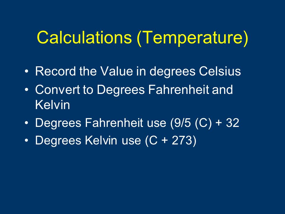 Calculations (Temperature)